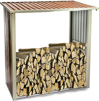 Estantería para – Leña Leña estante de chapa de acero galvanizado: Amazon.es: Jardín