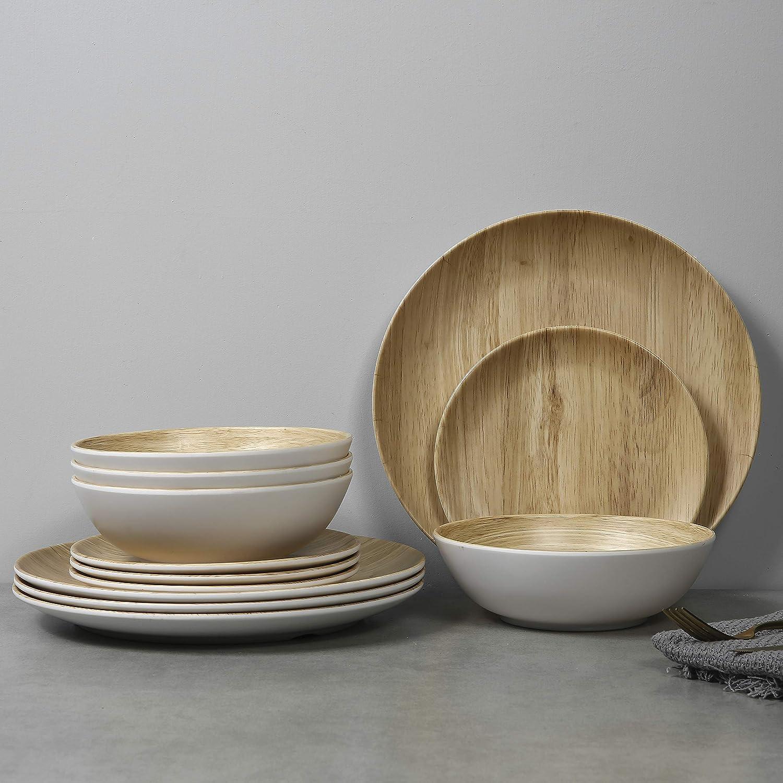 Melamine Dinnerware Set - 12pcs dinnerware set Indoor and Outdoor use, Bamboo Pattern Dishes Dinnerware Set for 4,Dishwasher Safe (Wood Grain)
