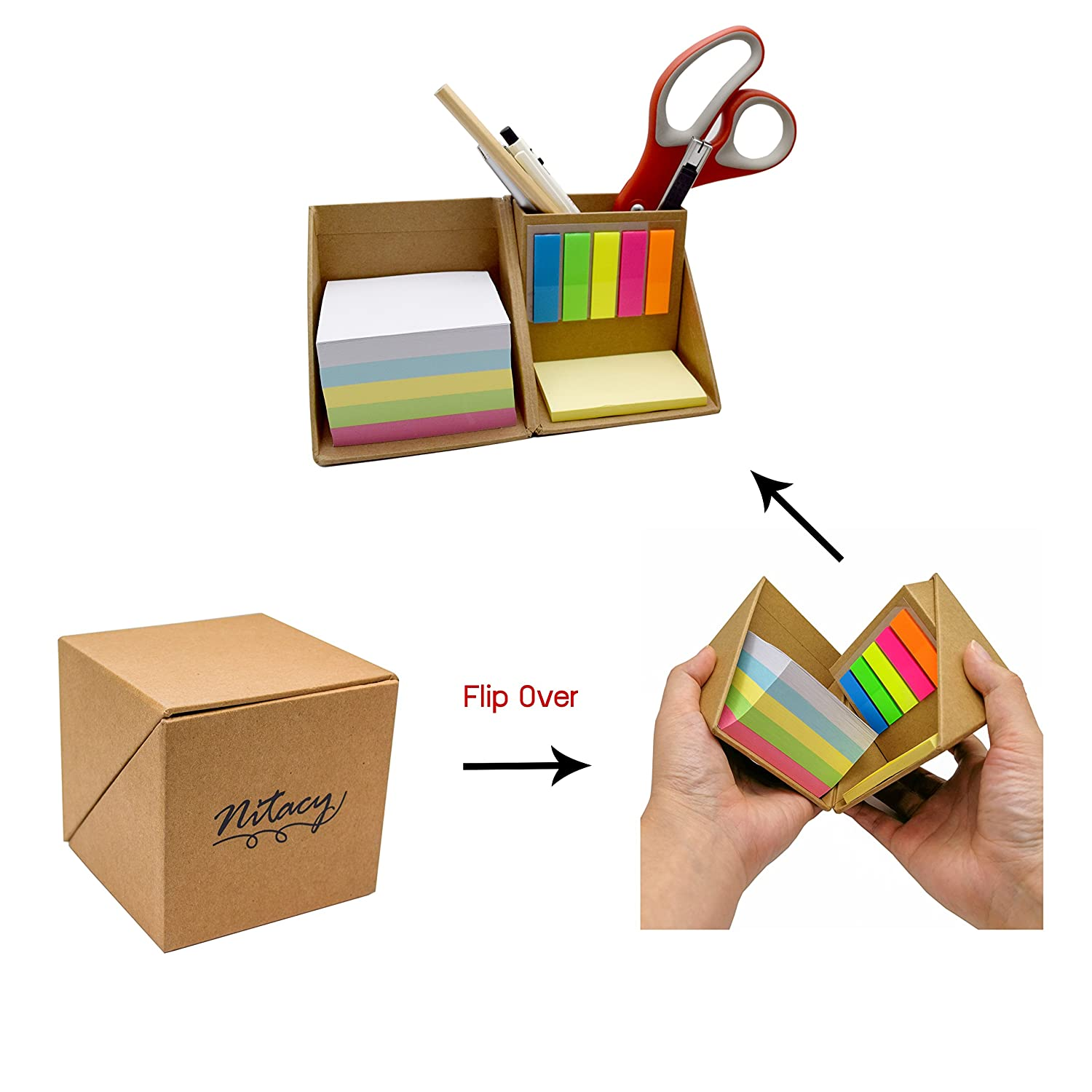 Nitacy Office Supplies Desk Organizer Blank Memo Note Pads Yellow Sticky Notes and Page Marker Colored Index Tabs Flags with Pen Pencil Holder in Recycle Kraft Box 4335521084