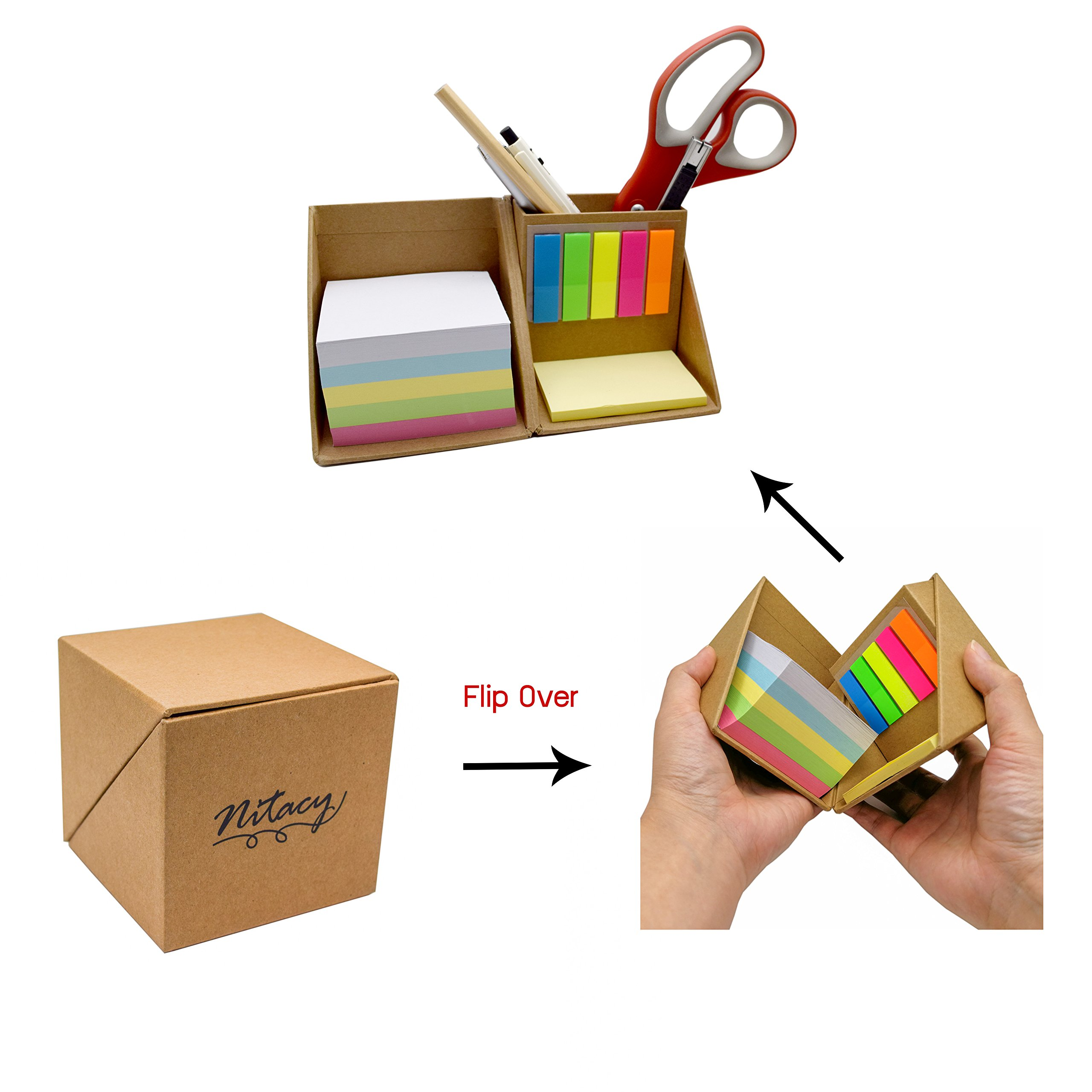 Nitacy Office Supplies Desk Organizer Blank Memo Note Pads Yellow Sticky Notes and Page Marker Colored Index Tabs Flags with Pen Pencil Holder in Recycle Kraft Box