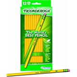Dixon Ticonderoga Wood-Cased #2 HB Pencils, Hang Tab Box of 12, Yellow (13812)