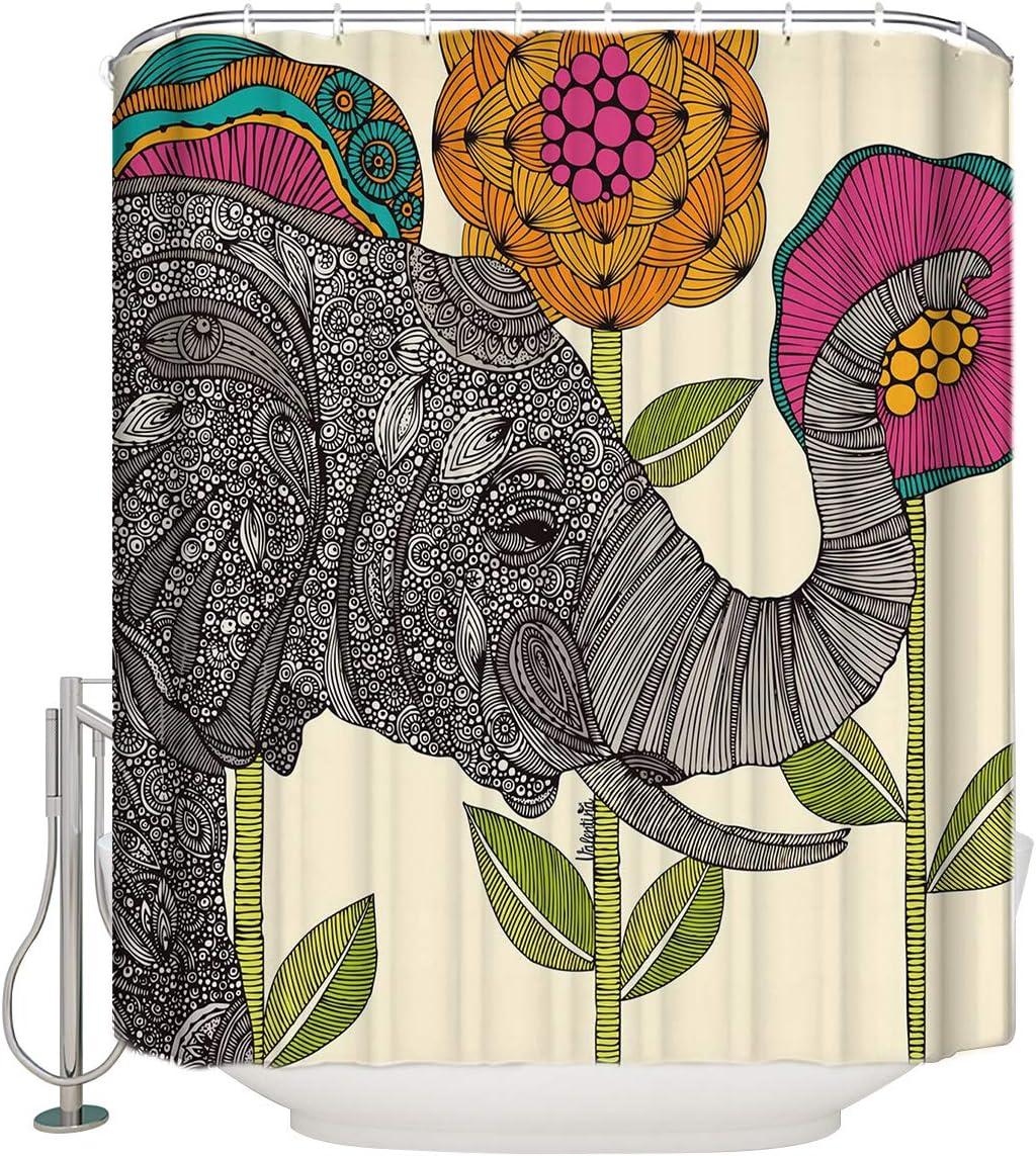 Vandarllin Waterproof Fabric Polyester Shower Curtains Liner 72x 72 Inch Elephant