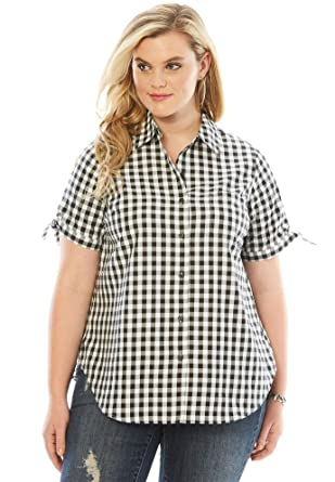 24299c9bd Roamans Women's Plus Size Gingham Shirt with Sleeve Ties - Black Check, ...
