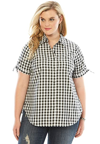 Roamans Women\'s Plus Size Gingham Shirt with Sleeve Ties