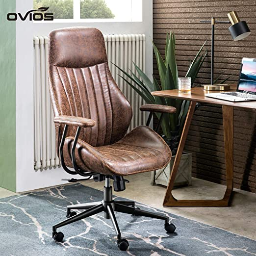 Amazon Com Ovios Ergonomic Office Chair Modern Computer Desk Chair High Back Suede Fabric Desk Chair With Lumbar Support For Executive Or Home Office Coffee Kitchen Dining