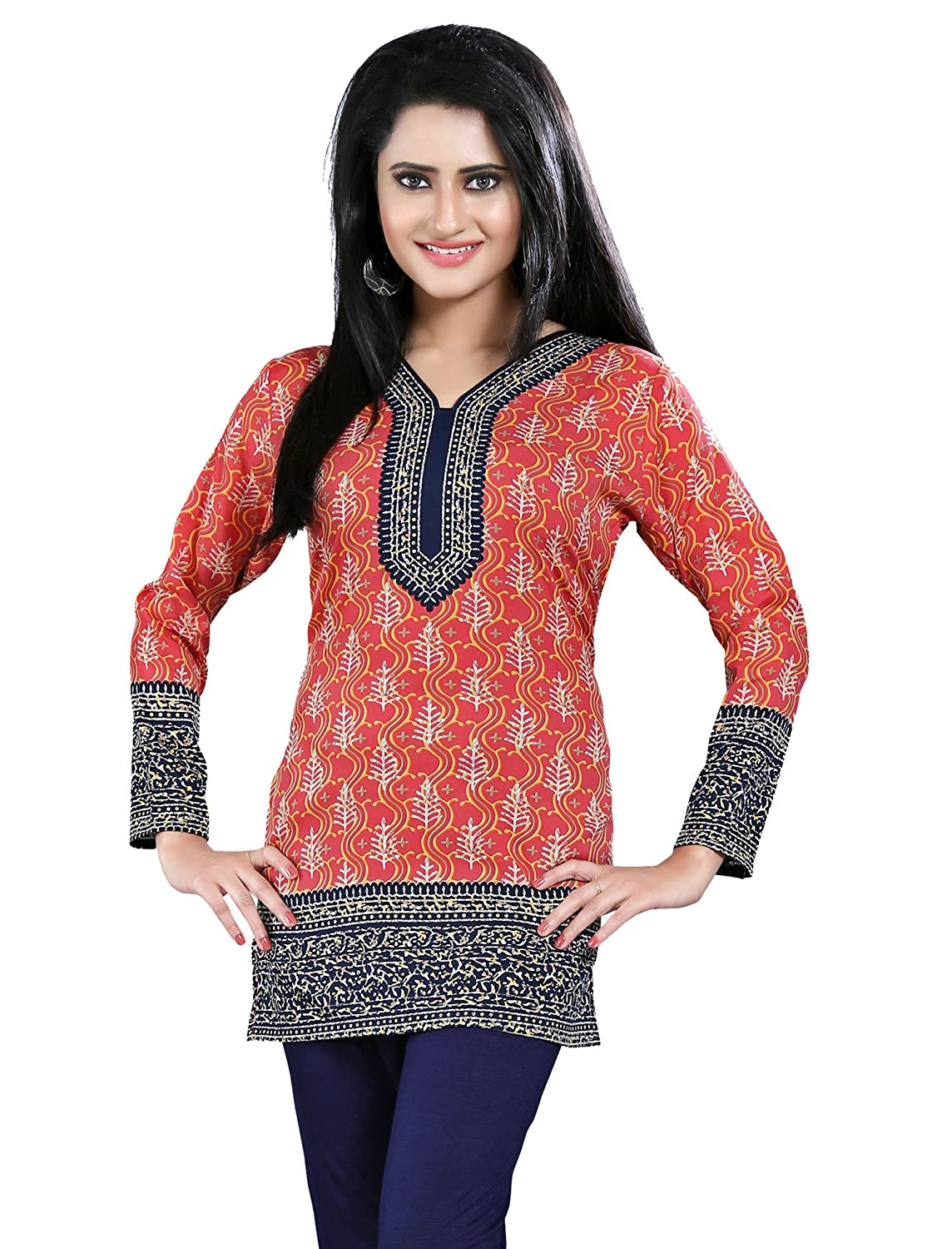 Maple Clothing Printed Long Sleeve Indian Kurti Top Tunic Womens Blouse Event121p