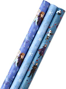 Hallmark Disney's Frozen 2 Wrapping Paper with Cut Lines (Pack of 3, 105 sq. ft. ttl.) for Birthdays, Christmas, Kids Parties or Any Occasion