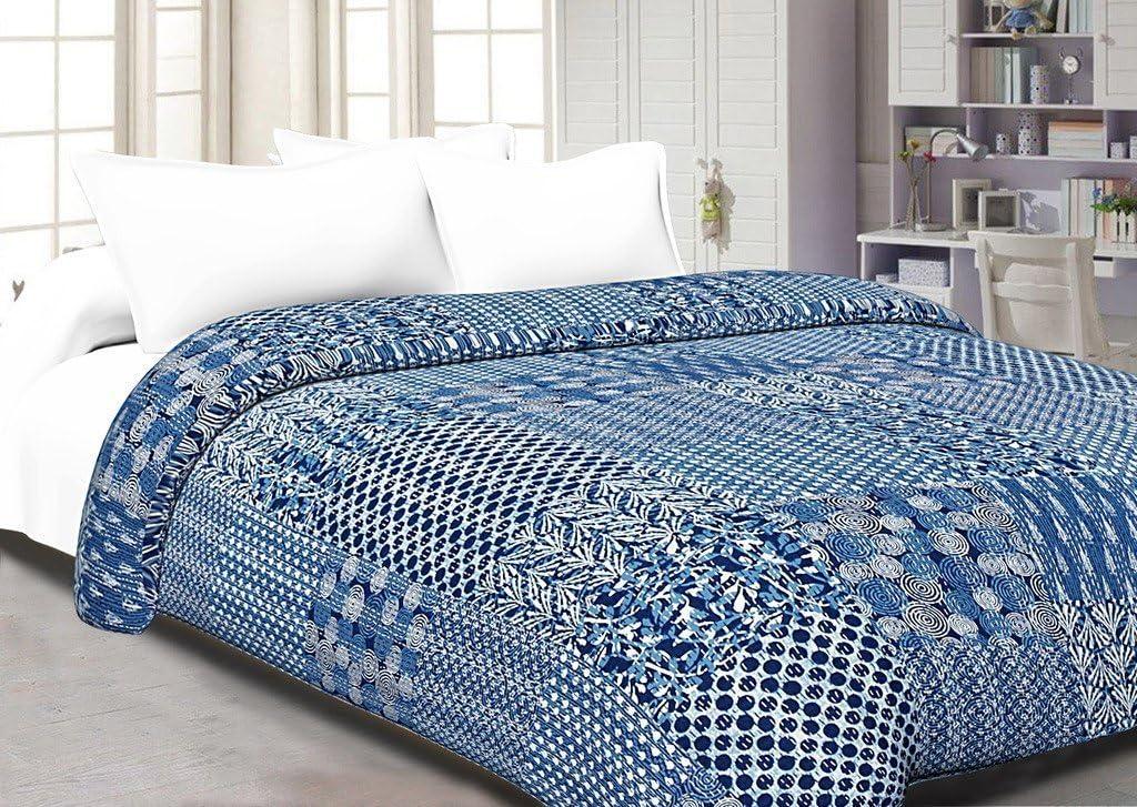 Indian 100/% Pure Cotton Indigo Blue Kantha Printed Handmade Bedspread Kantha Quilt Bed Cover