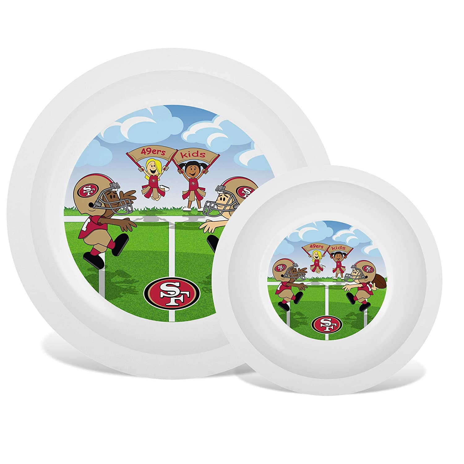 Baby Fanatic NFL Legacy Infant Plate & Bowl Set, San Francisco 49ers, for Ages 6 Months & Up