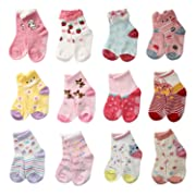 LAISOR 12 Pairs Assorted Non-Skid Ankle Cotton Socks with Grip For Kids Toddlers Baby Girls (6-12 Months)