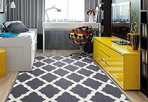 "Ottomanson Glamour Collection Contemporary Moroccan Trellis Design Kids Rug (Non-Slip) Kitchen and Bathroom Mat Rug, 3'3"" X 5'0"", Grey"