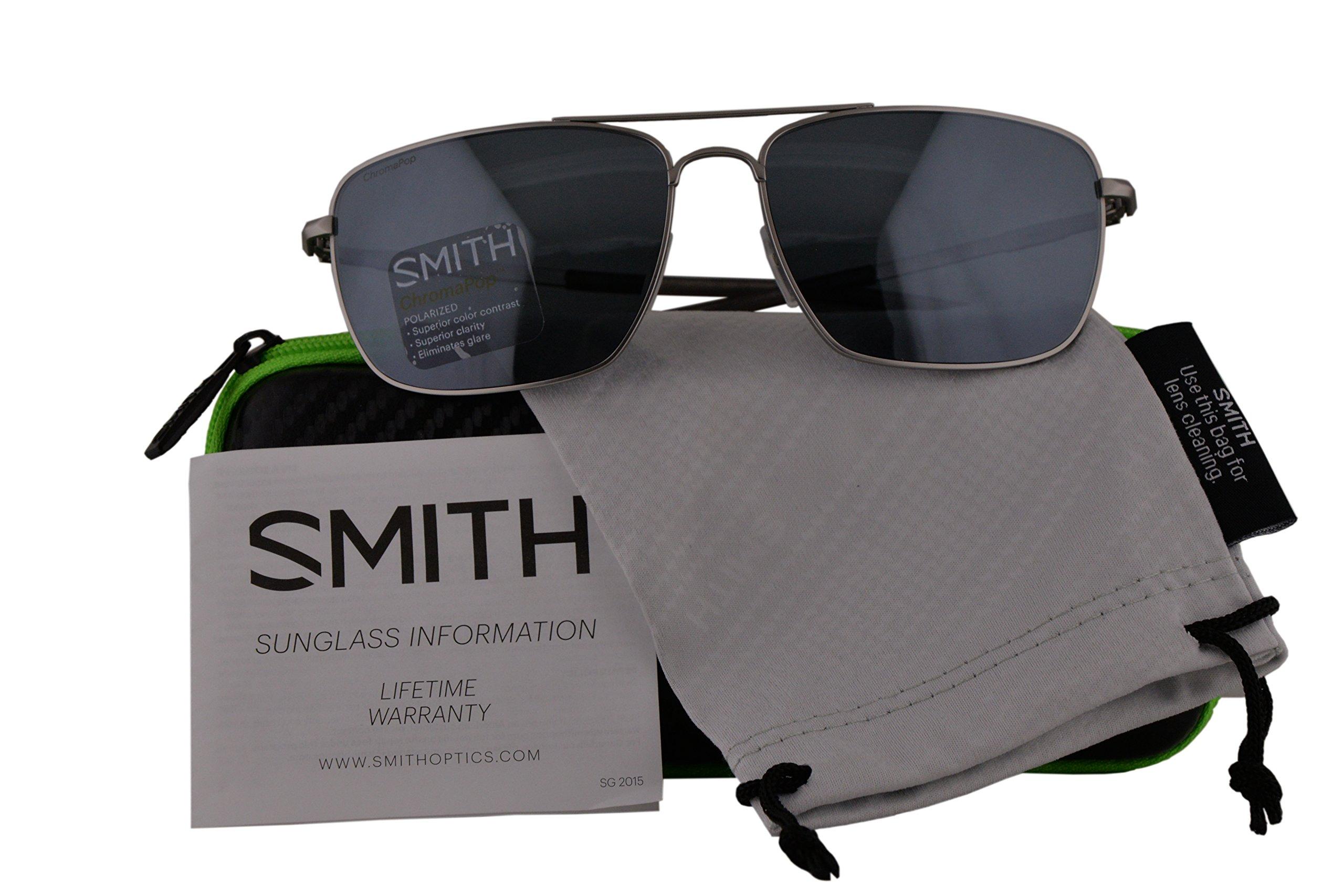 Smith Authentic Sunglasses Nomad Matte Silver w/ChromaPop Polarized Platinum Lens 011 (59mm) Nomad/S