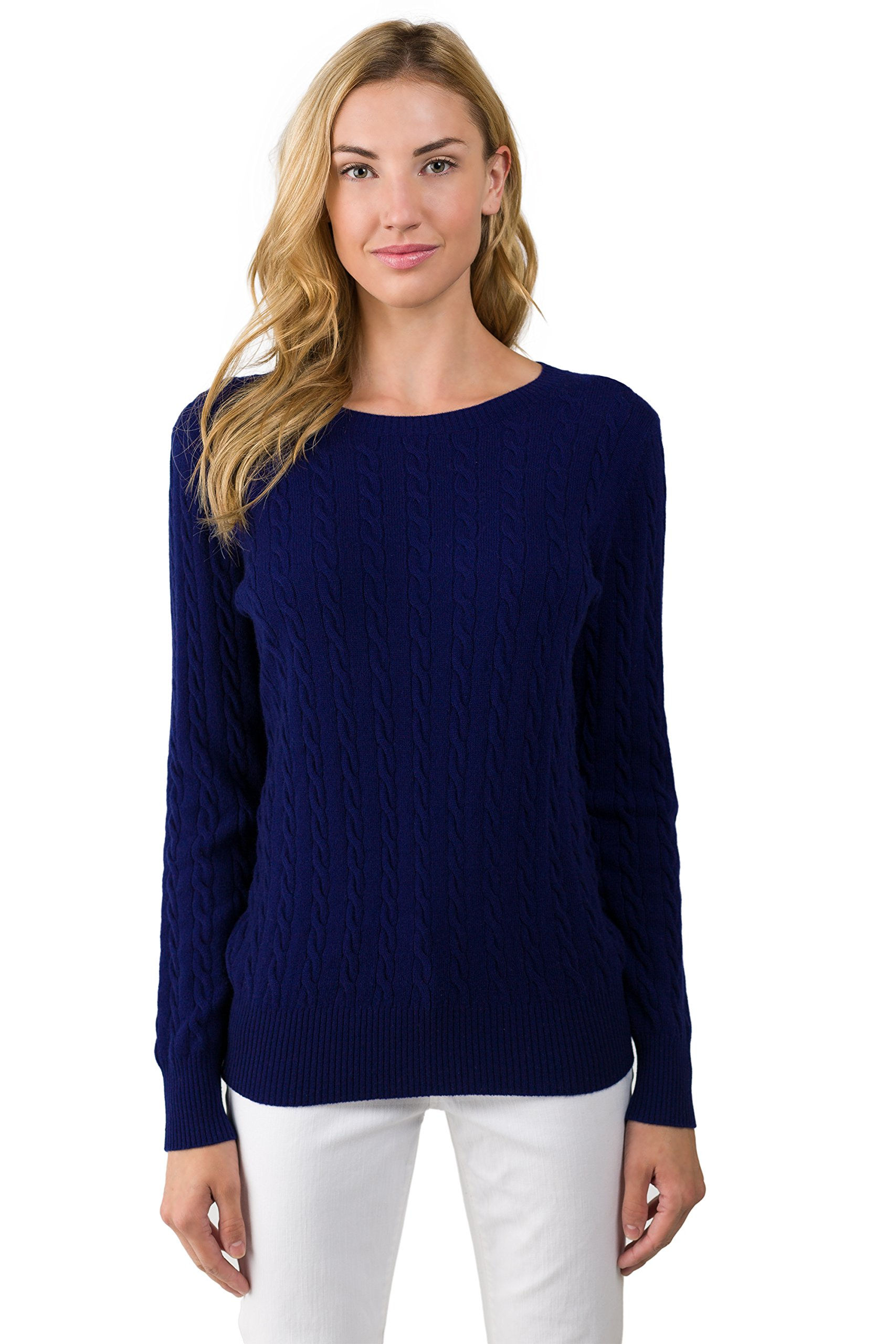 J CASHMERE Women's 100% Cashmere Long Sleeve Pullover Cable Crewneck Sweater Midnight Small
