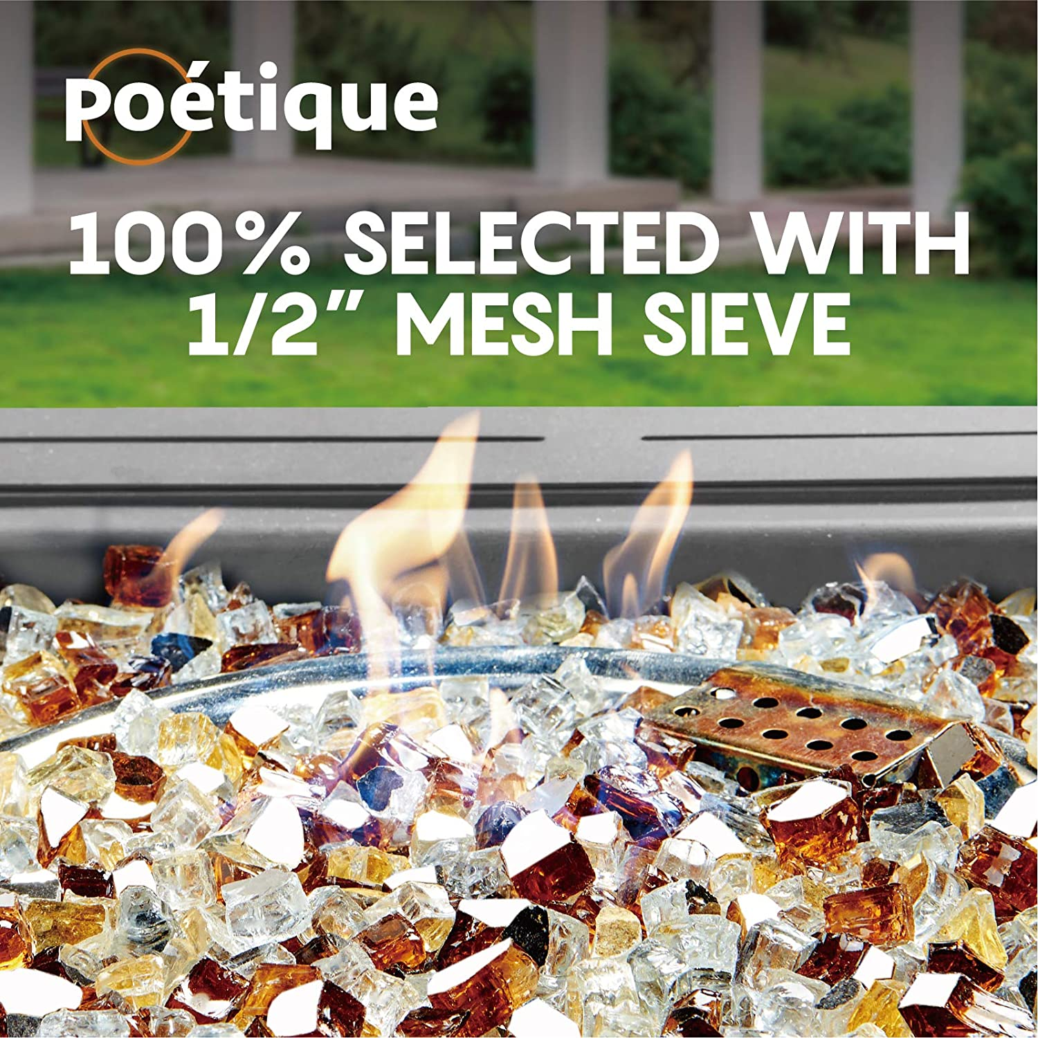 Reflective Tempered Fireglass Rocks 1//2 Inch for Gas or Propane Fireplace Outdoors Platinum Copper Bravex Fire Glass Blended for Fire Pit 10 Pound Ancient Blue