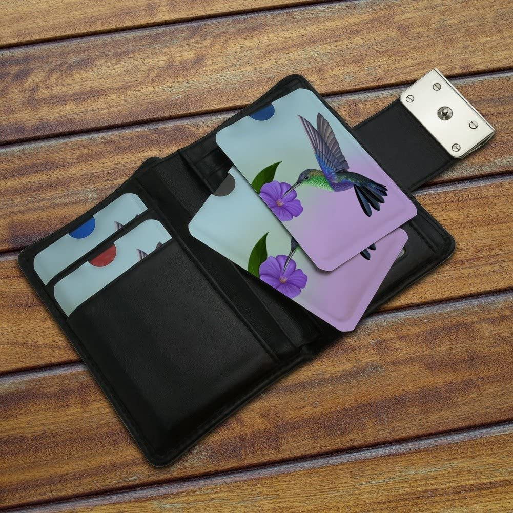Hummingbird Crowned Woodnymph Purple Violet Credit Card RFID Blocker Holder Protector Wallet Purse Sleeves Set of 4