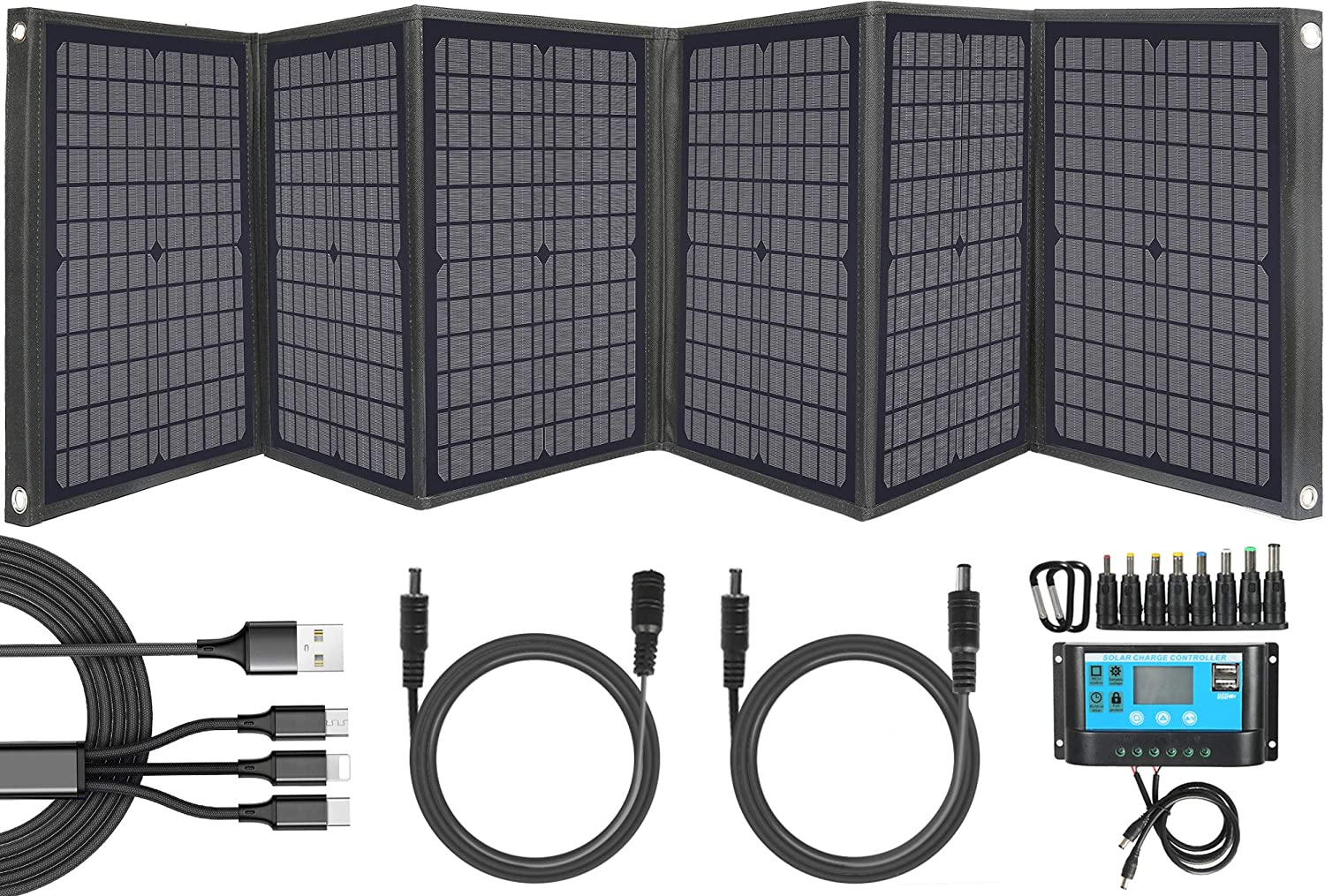 60Watt Portable Solar Panel Charger for Most 100/200Watt Solar Generator Power Station, Compact Solar Kit with 3-in-1 USB Cable/Solar Controller for Phone, Tablet, Camera and More