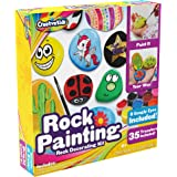Rock Painting Outdoor Activity Kit for Kids – DIY Art Set w/ 10 Hide and Seek Stones, 12 Acrylic Paint Tubes & 2 Brushes – Fun Googly Eyes, Easy Transfer Design for Boys & Girls