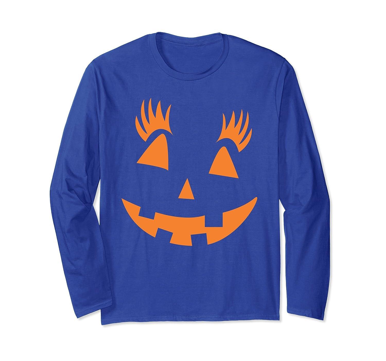 Pumpkin Girl Smiley Cute Halloween Party Long Sleeve T-shirt-ln