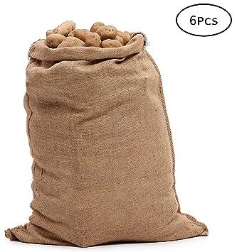 Tebery Sacos Grandes de Yute 100% Natural - Pack 6 Bolsas ...