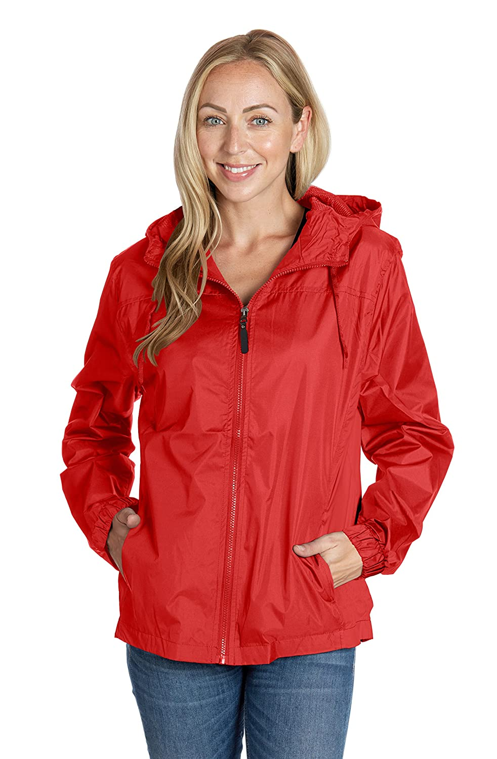 Ladies Hooded Wind Resistant/Water Repellent Windbreaker Jacket Equipment De Sport USA
