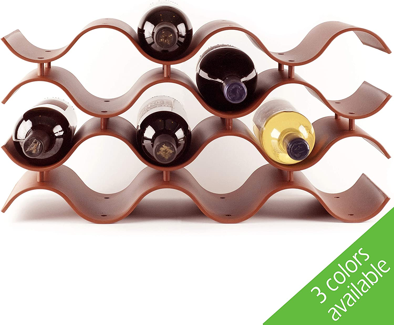 Baridoo Wine Rack. Stackable Countertop Wine Bottle Stand. 12 Bottles Wine Holder Organizer for Table Top, Pantry, Cabinet, Refrigerator. Wine Bar Quality Plastic Lightweight Storage (Terra Cotta).