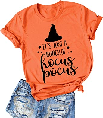 Naliya Womens Halloween Tops ts Just A Bunch of Hocus Pocus Letter Print T-Shirt Graphic Tee Shirts