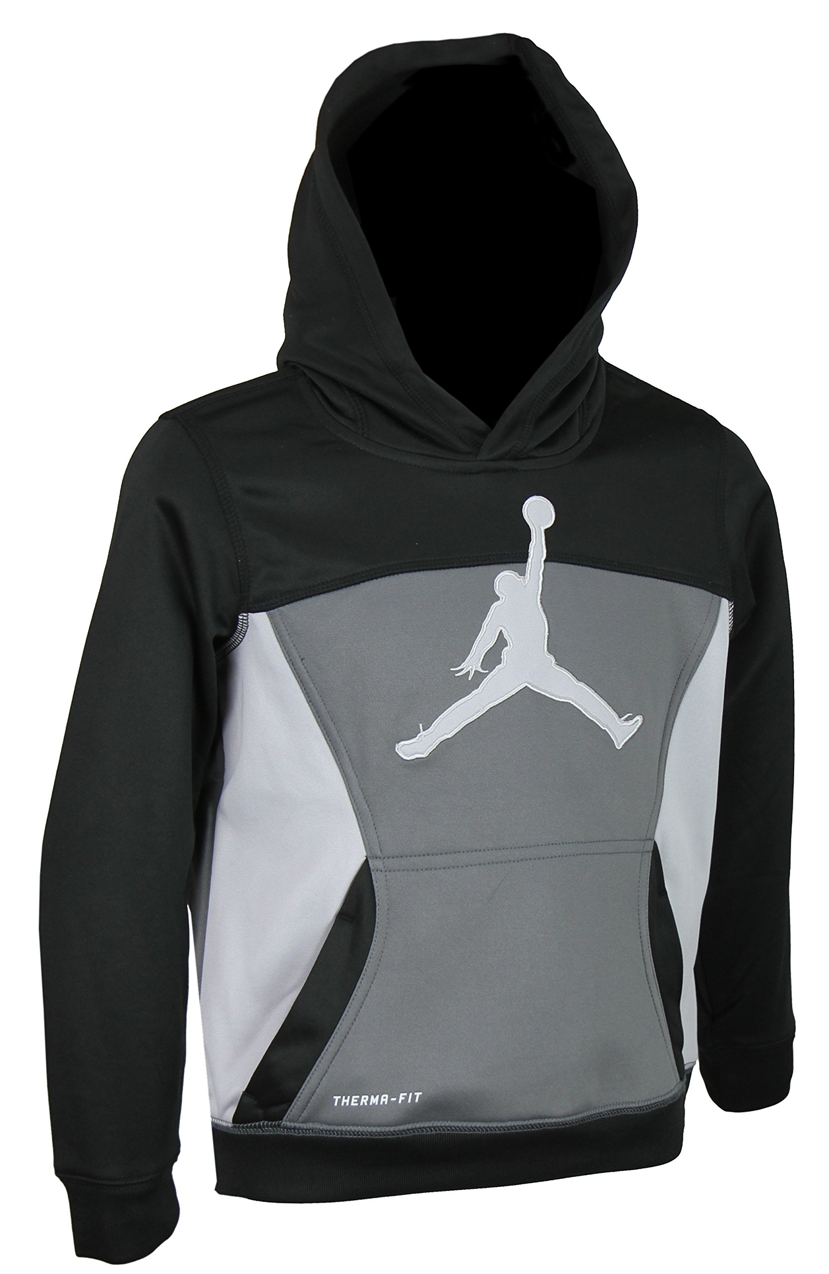 Jordan Nike Boys Air Jumpman Full Zip Therma-fit Hoodie - Black, Dk Grey (Size 7)