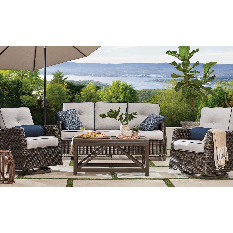 Amazon com agio outdoor patio handwoven all weather wicker 4pc seating set w sunbrella cushions garden outdoor