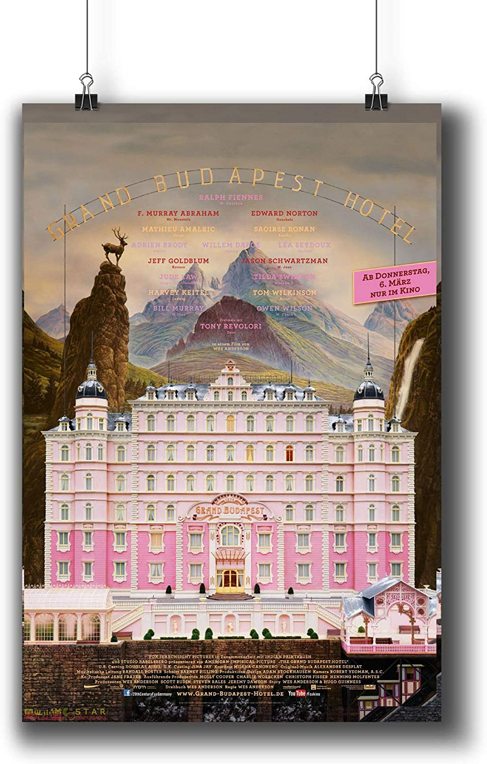 The Grand Budapest Hotel (2014) Movie Poster Small Prints 803-004,Wall Art Decor for Dorm Bedroom Living Room (A3|11x17inch|29x42cm)
