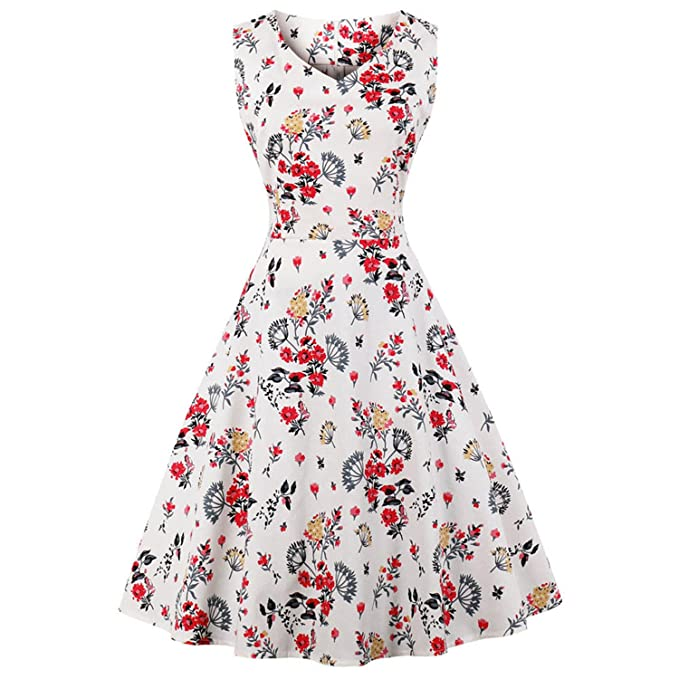 Floral Print High Waist Vintage Dress Women Summer Pin up Dresses Vestidos at Amazon Womens Clothing store: