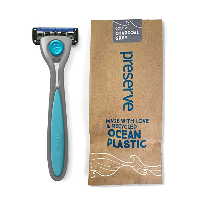 Preserve POPi Shave 5 Razor System Made with Recycled Ocean Plastic, Charcoal Grey