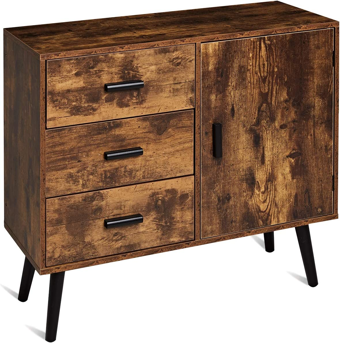 TianLang Retro Industrial Storage Cabinet, Cupboard with 3 Large Drawers & 1 Side Cabinet,Multifunctional Cabinet for Living Room,Kitchen,Bathroom,Stable Wooden Legs,Retro Brown LJSC003F