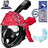 Snorkeling Mask by Manokdala 180 ° Full Face Panoramic Diving Scuba Snorkel Mask Set Anti-Fog, Anti-leak Technology for Man and Woman, Waterproof Case, Hand Fins & Red Cotton Bandage Snorkeling Set
