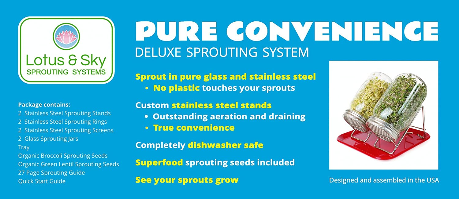 Amazon.com: Pure Convenience Deluxe Sprouting System - Pure Glass ...