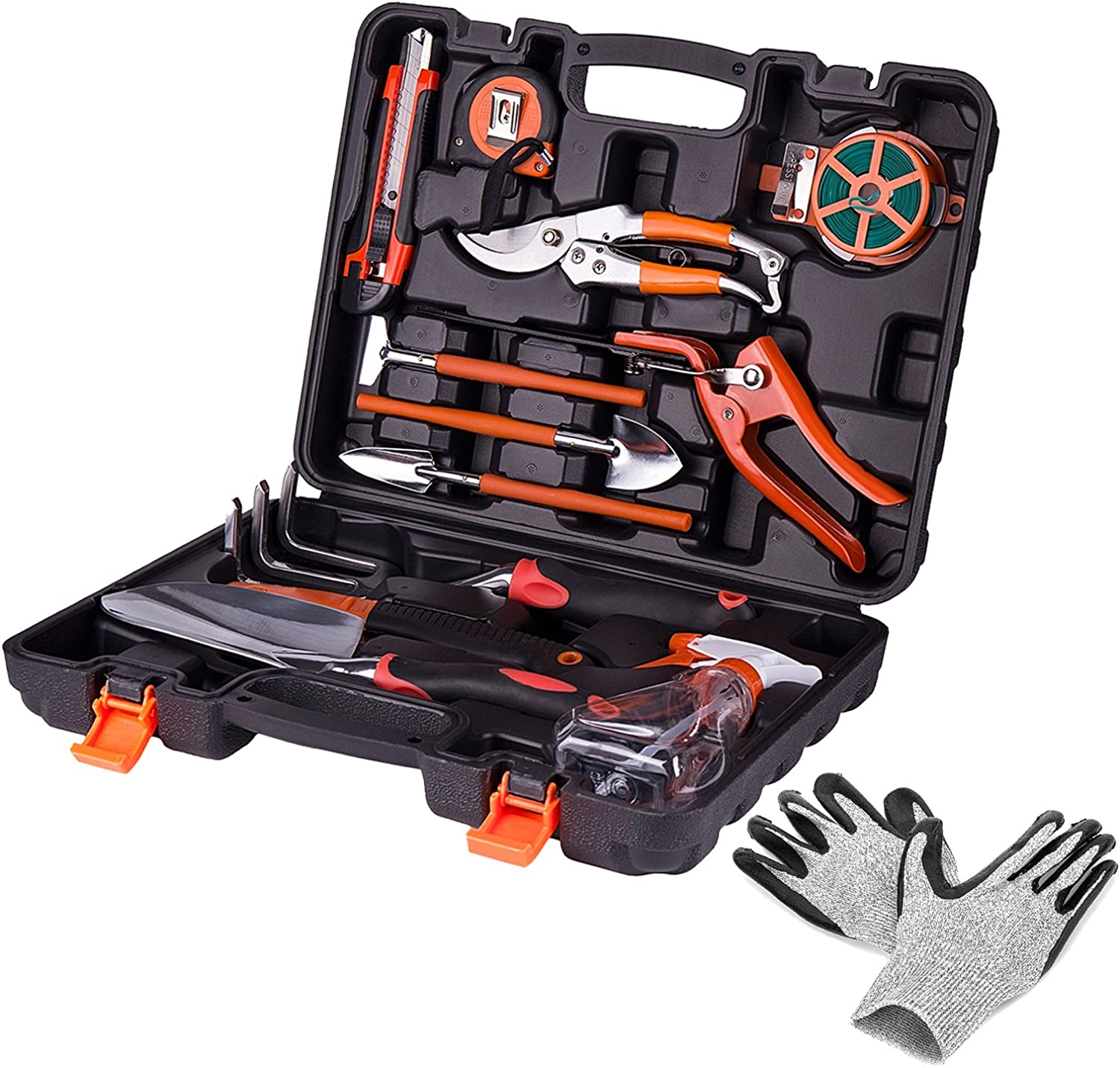 KORAM 13-Piece Garden Tools Kit Plant Care Tool Home Improvement Tool Sets with Carrying Case Include Secateurs, Trowel Pruners, Pruning Saw, Rakes – Garden Gifts for Men Women