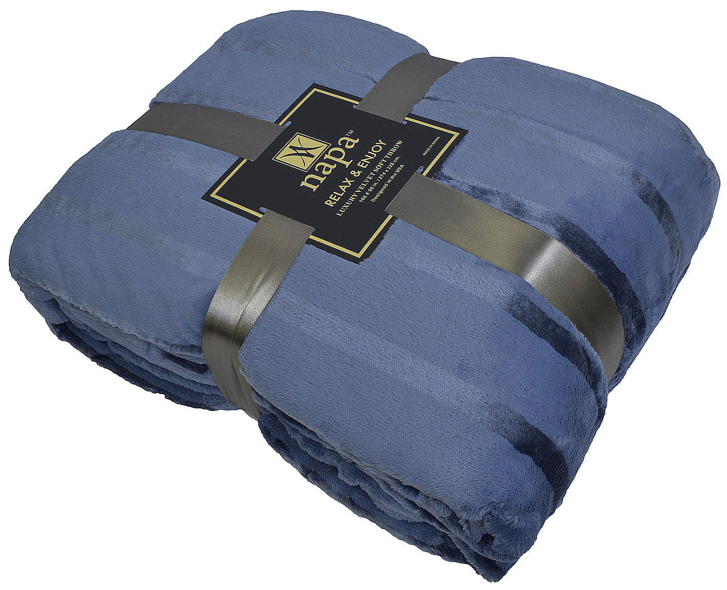 Napa Plush Cashmere Throw Blanket Dark Blue, Twin 70''x90'', Striped Reversible Velvet Luxury Fleece Warm Bed Couch Blanket, Super Soft and Cozy