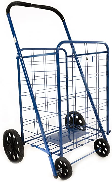 ATH Small Deluxe Rolling Utility//Shopping Cart Sports Equipment Toys Stowable Folding Heavy Duty Cart with Metal Frame Wheels For Haul Laundry Groceries Blue