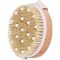 Body Brush Dry Exfoliating Bath Back Scrubber-Strength Skin Brush With Natural Boar Bristle Anti Cellulite for Body Men…