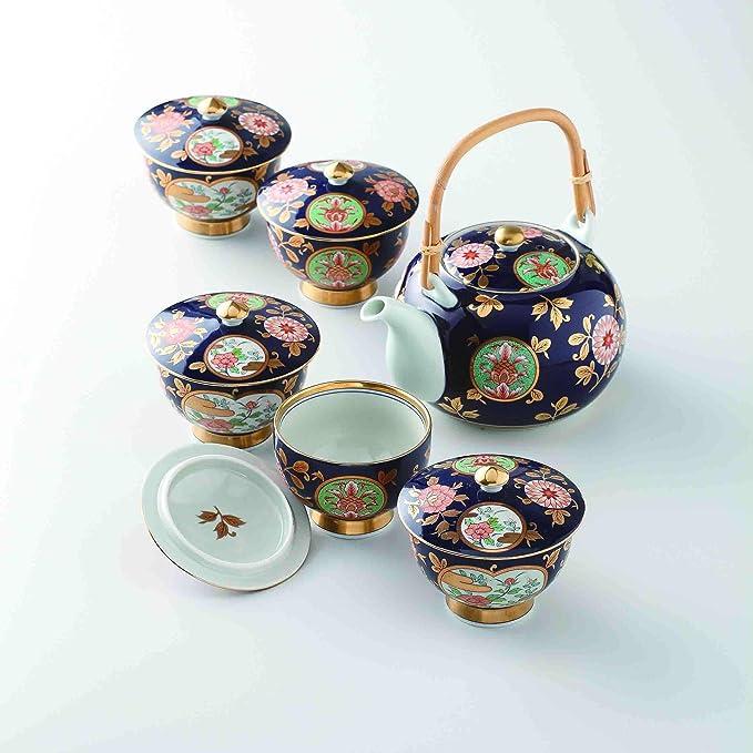 Japanese Imari Porcelain Blue and White Kyusu Teapot With Net Pattern Signed