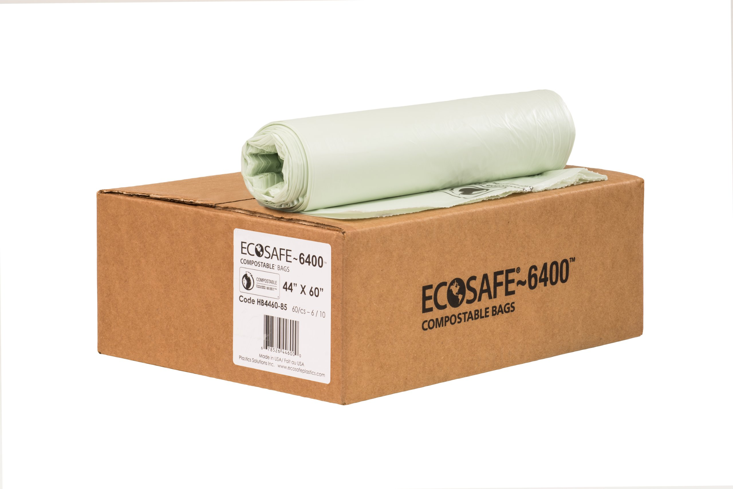 EcoSafe-6400 HB4460-85 Compostable Bag, Certified Compostable, 60-Gallon, Green (Pack of 60)
