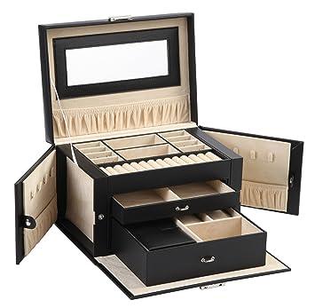 Amazoncom Sodynee Mew Pu Leather Jewelry Box Organizer Display