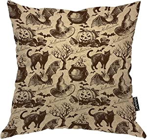 Moslion Halloween Pattern Throw Pillow Covers Retro Vintage Style Animal Cat Pumpkin Owl Bat Witch Hat Tree Pillow Case for Home Decor Halloween Thanksgiving Cushion Cover Cotton Linen 18x18 inch