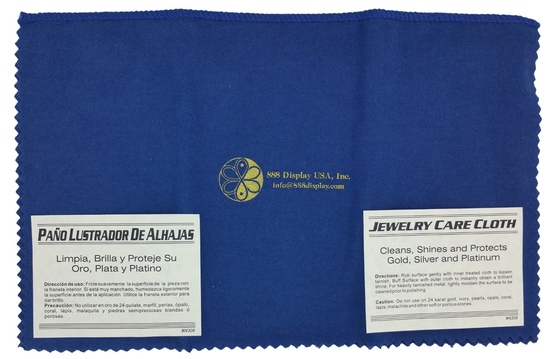 888 Display Jewelry Cleaning Cloth, Cleans, Shines, and Protects Gold, Silver and Platinum - 2 Cloths (12x15)