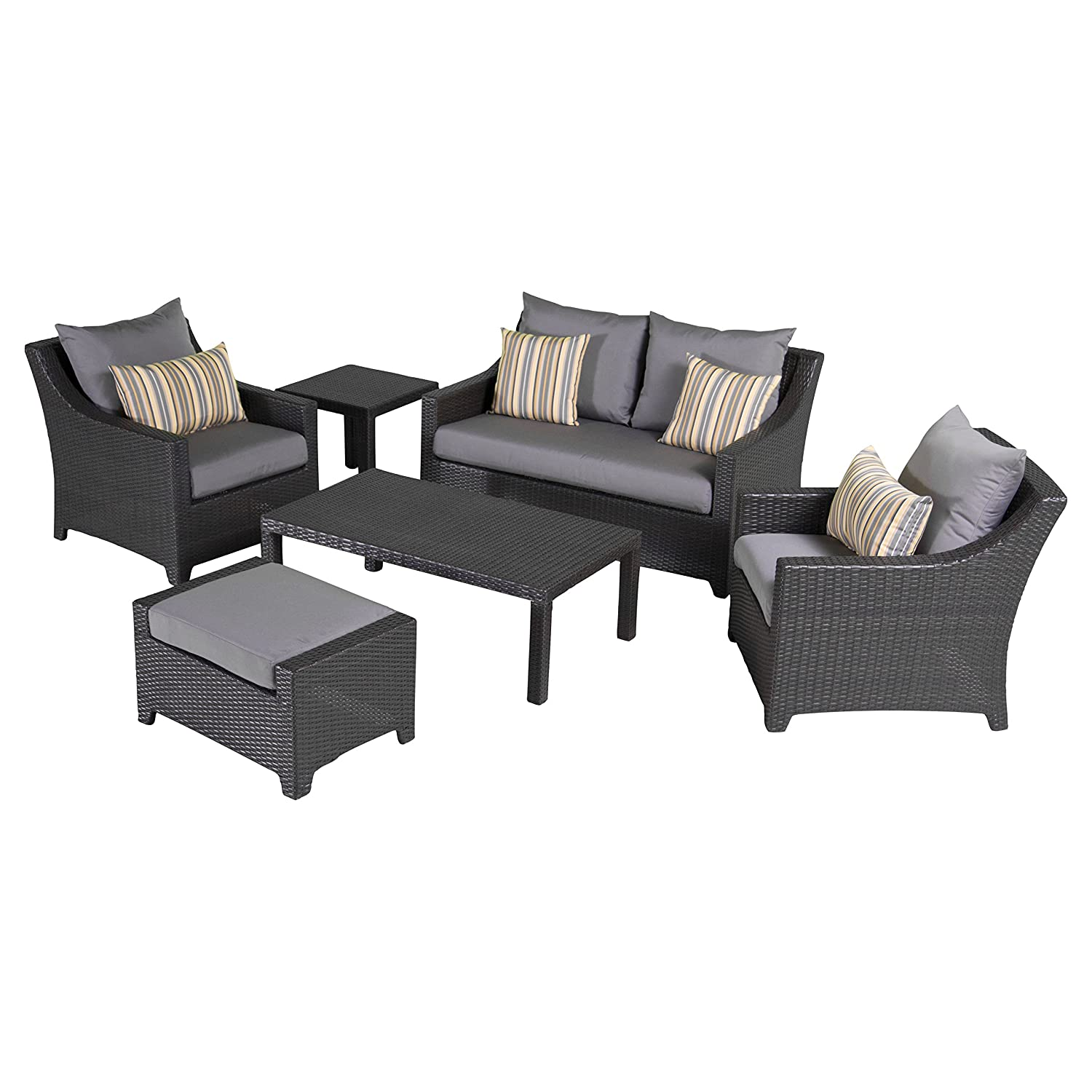 amazoncom rst brands deco 6piece love and club deep seating set with cushions ginkgo green patio lawn u0026 garden - Rst Brands