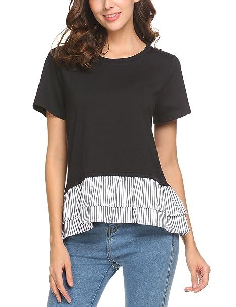 0f1f84652230d4 Thinkwell Women s Casual Ruffle Hem Drop Shoulder High Low Peplum Tunic Top  Black