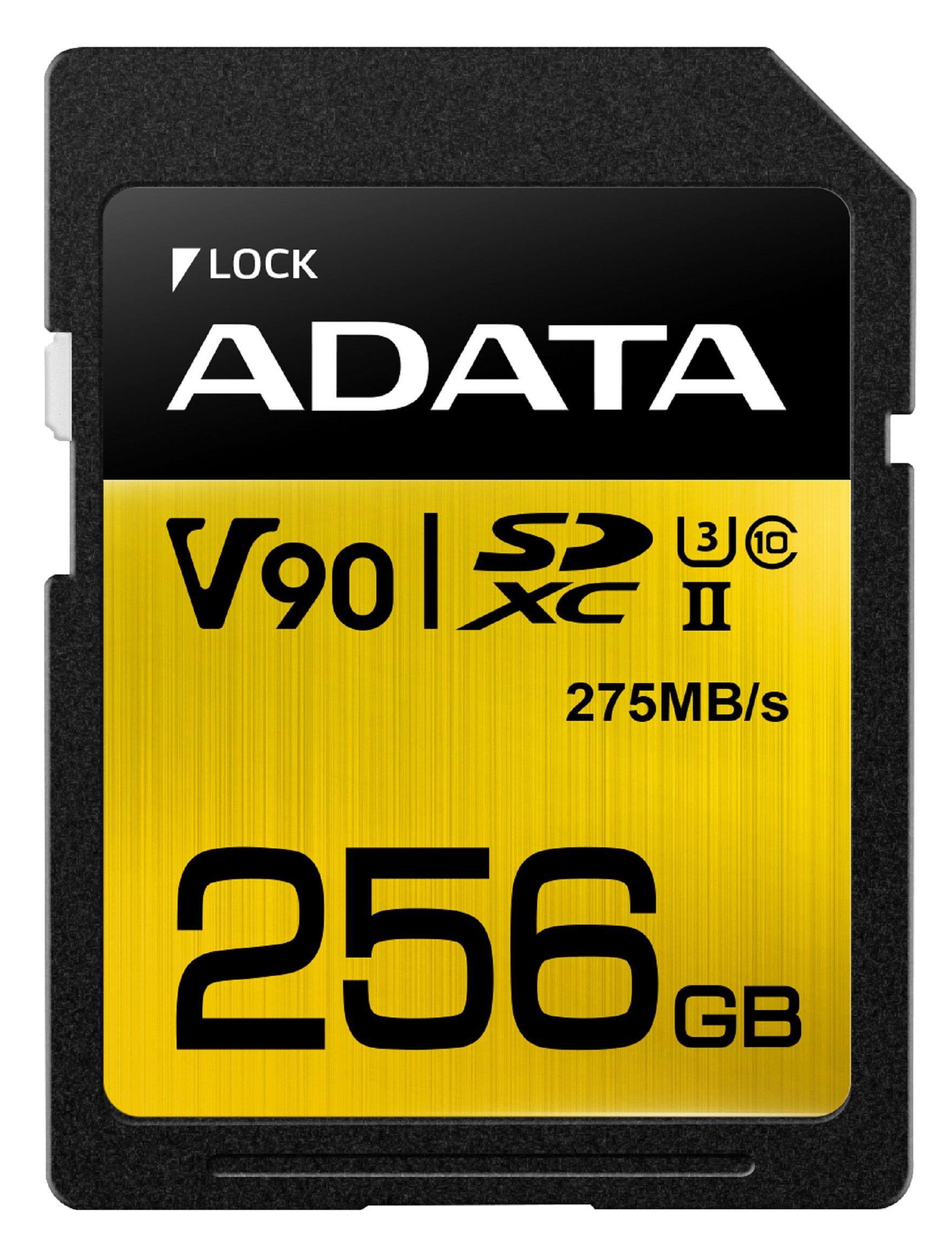 ADATA ASDX256GUII3CL10-C Premier ONE SDXC UHS-II U3 Class10 V90 3D NAND Extreme 4K Ultra HD 290MB/s SD Card, 256 GB by ADATA