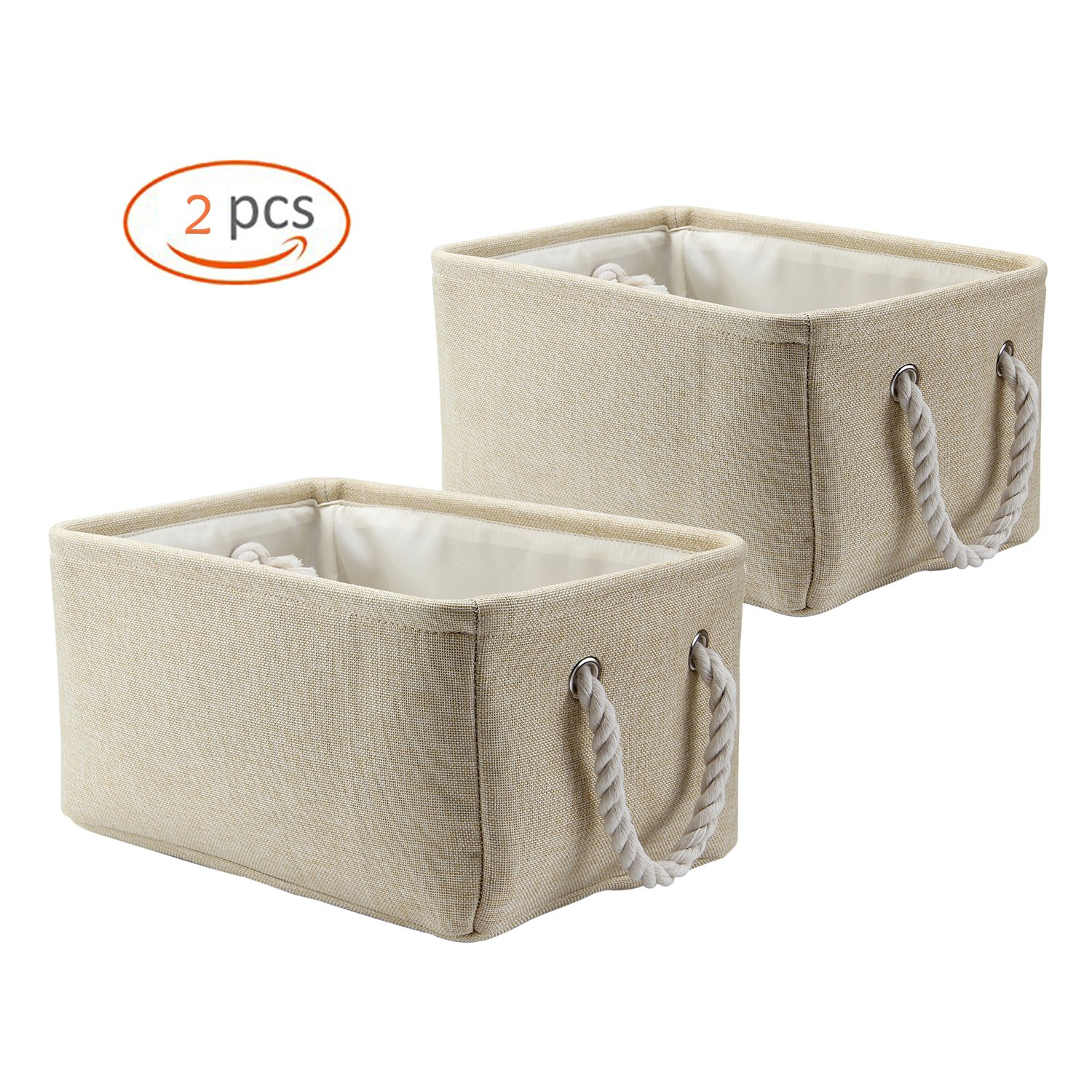 Biubee 2 Pack Diaper Storage Bin-Collapsible Hamper Organizer Baskets with Handle for Organizing toys ,Blankets and Laundry for Newborns Gifts and Nursery