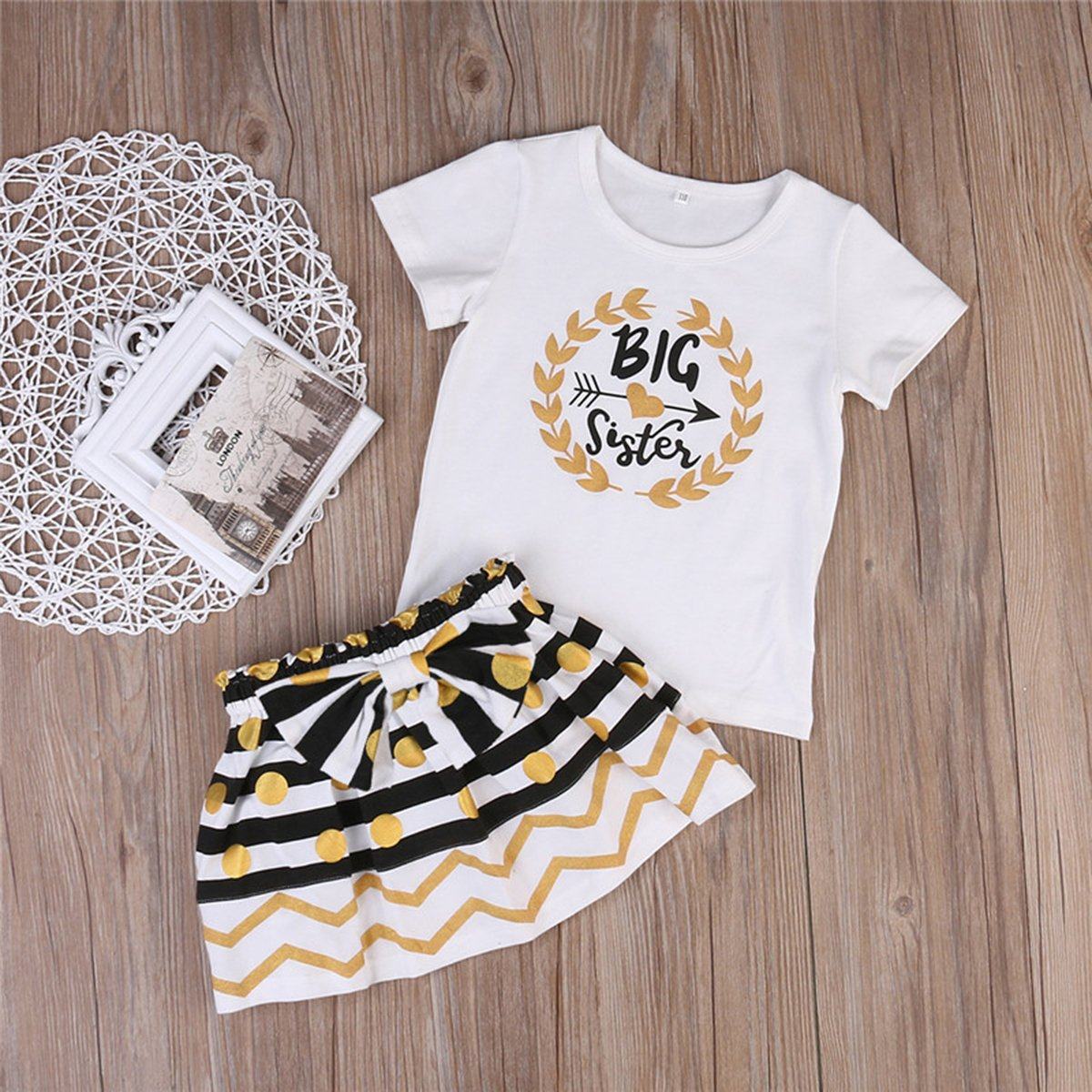 Infant Toddler Girls Matching Tops Stripe Dots Skirt Outfits Clothes Set