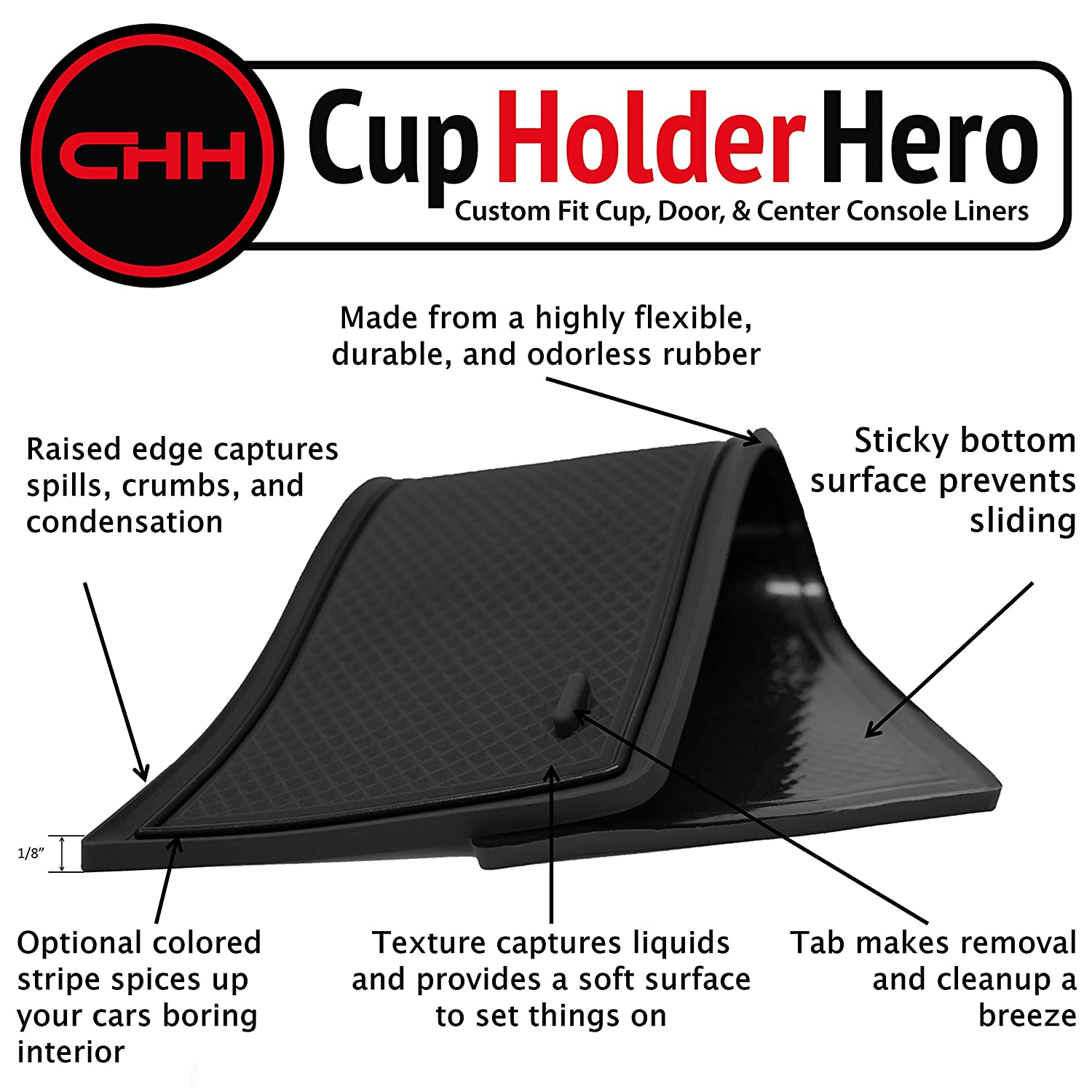 Console Premium Cup Holder Blue Trim CupHolderHero for Chevy Blazer 2019-2020 Custom Liner Accessories and Door Pocket Inserts 19-pc Set