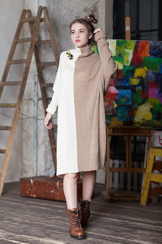 98b4d6713d13 Amazon.com  Minimalist sweater Cashmere Minimalist sweater dress Turtleneck knitted  sweater Super oversized dress Plus size Off white Cashmere Coffee  ...